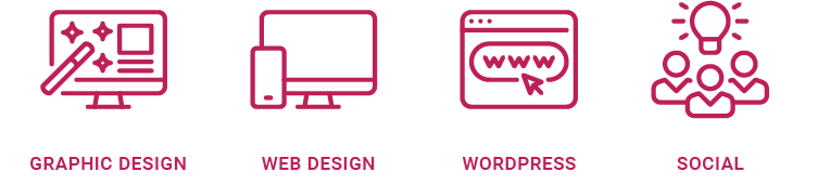 Development icons displaying graphic design, web design, wordpress and social icons.